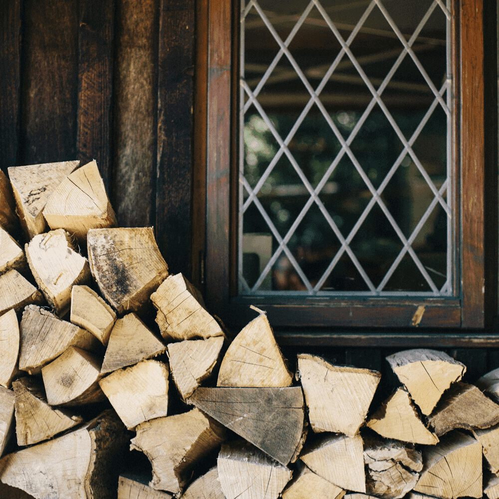 Wood stacked up outside The Salt Box