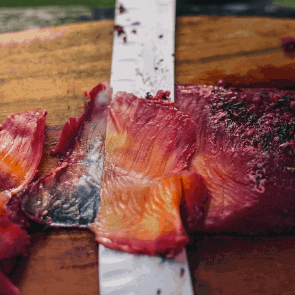 Beetroot and Gin Cured Trout