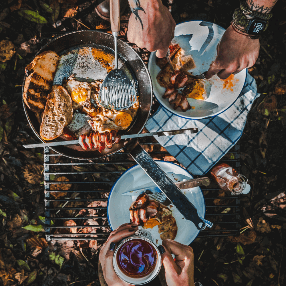 Breakfast in the Woods cooked over an open fire