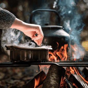 cooking over fire with the salt box