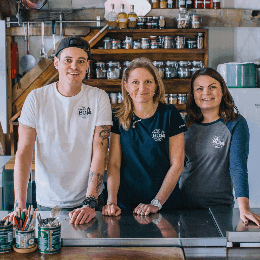 The Salt Box team, meet Flori, Beckie and Christian