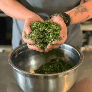 Making wild garlic seed capers at The Salt Box