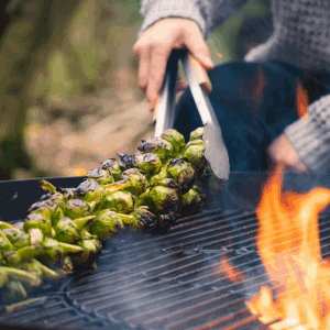 Charred Brussel Sprout Trees cooked over the fire recipe