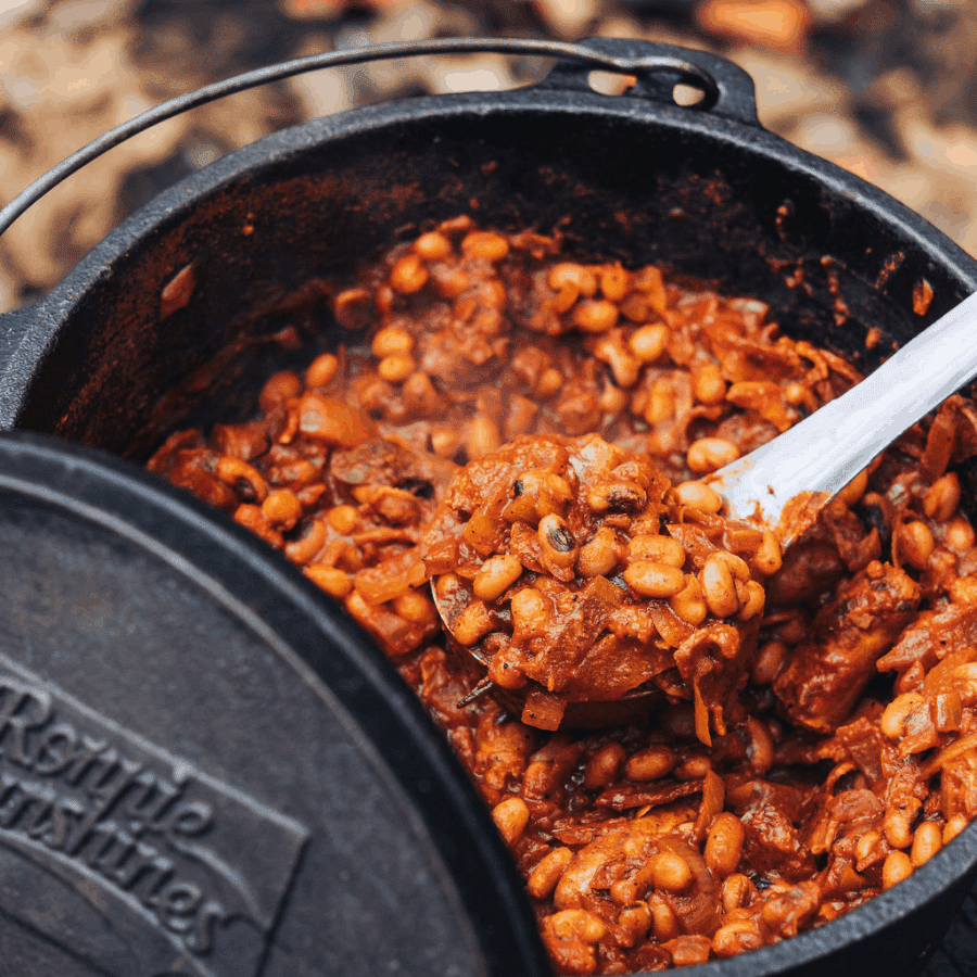 Cowboy Boston Baked Beans Recipe, cooked over fire, campfire beans recipe, cowboy BBQ beans