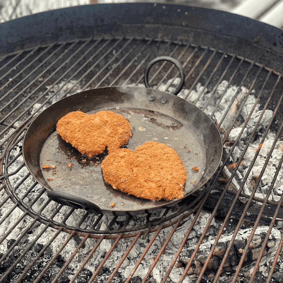 pheasant, schnitzel, family, wild game, feast over fire