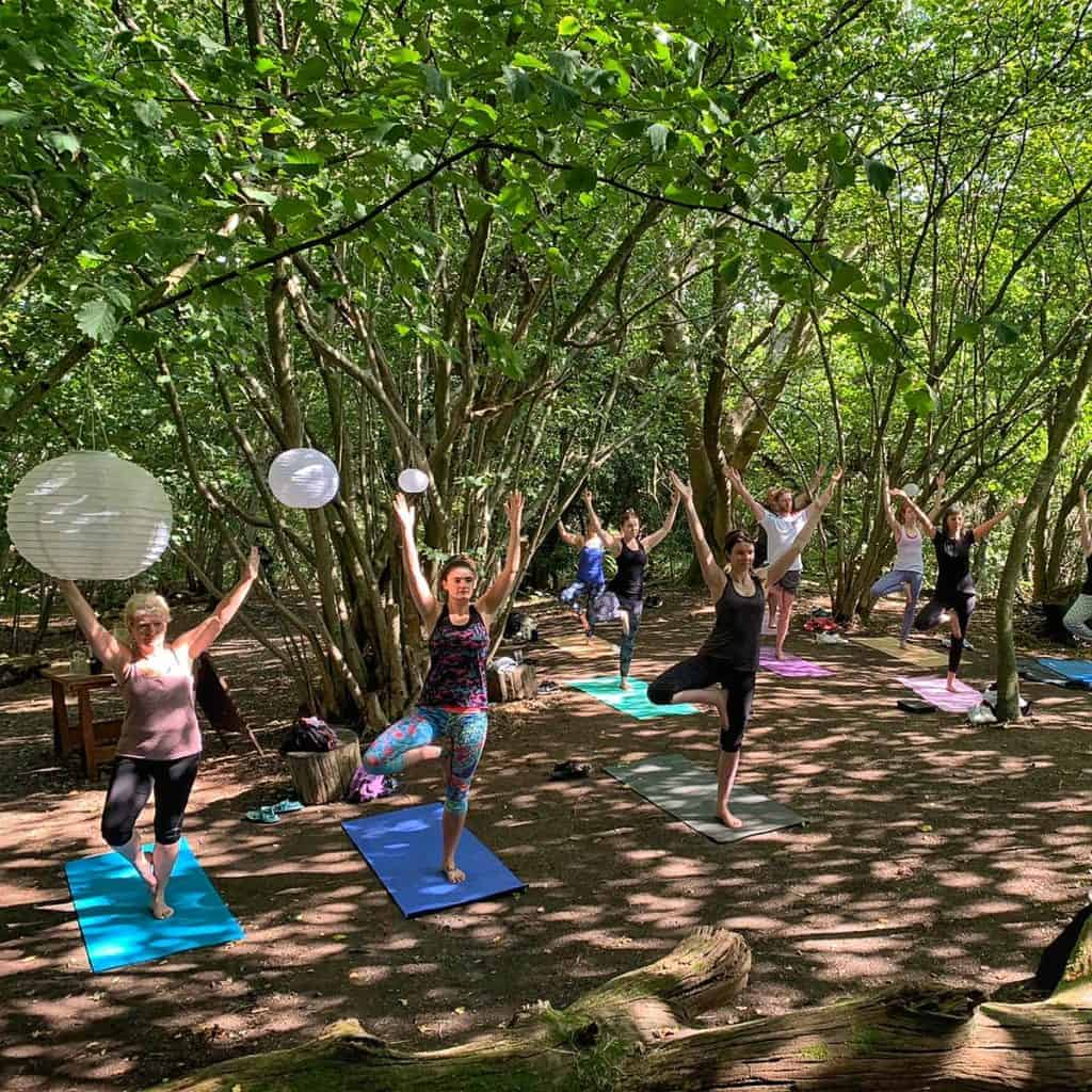 Woodland Yoga at The Salt Box Surrey with GLO Yoga